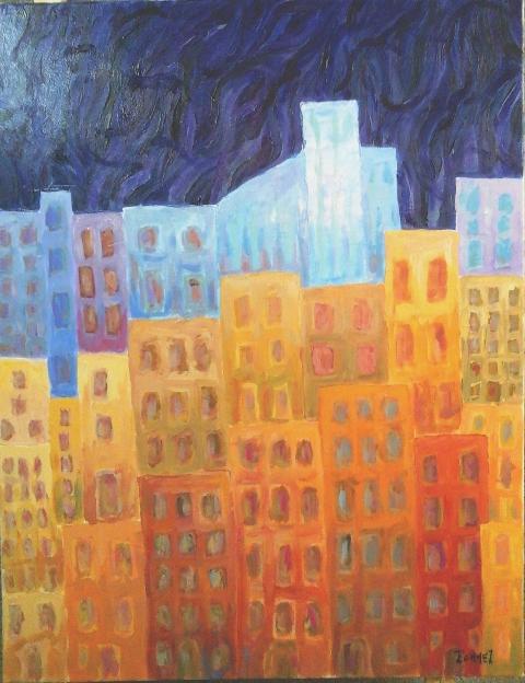 Colline de nuit Acrylique sur toile 90 x 70