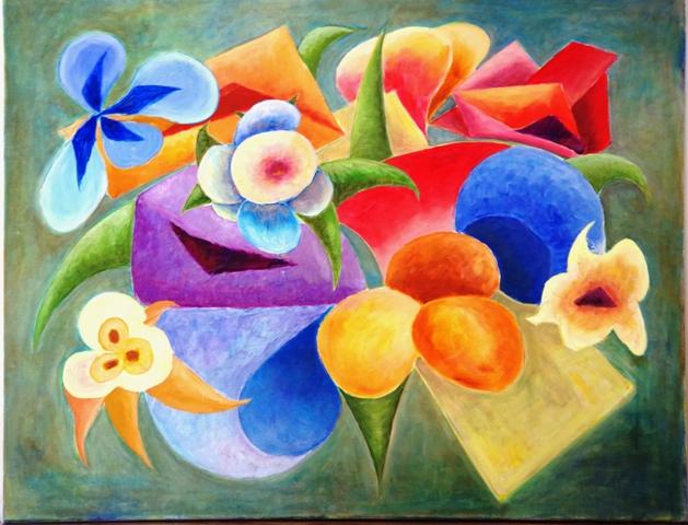 Composition - Acrylique sur toile 90 x 70 - 11 16