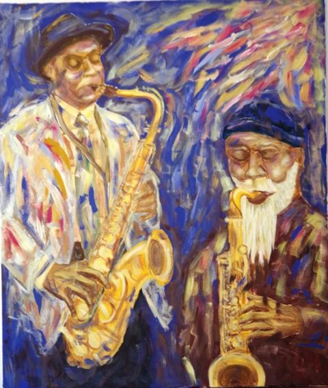 Duo de sax Acrylique 100 x 85 - 08 17