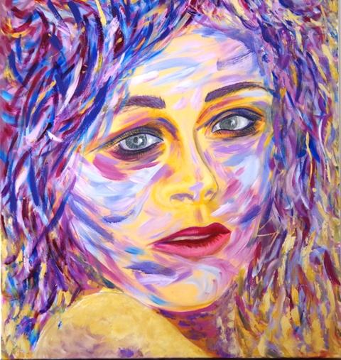 La fille en bleu - Acrylique 100 x 90 - 08 17