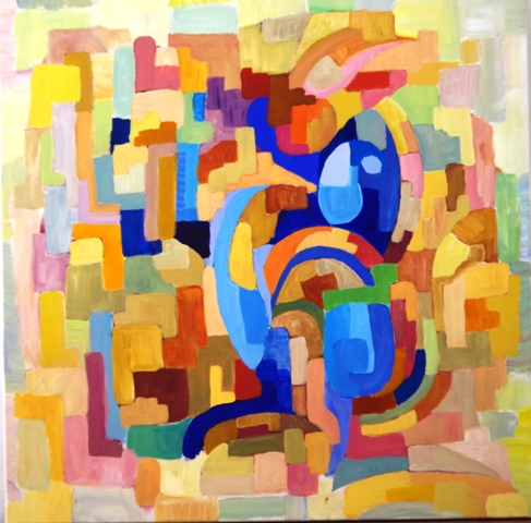 Le ARA BLEU -Acrylique sur toile 80 x 80 - 03 17