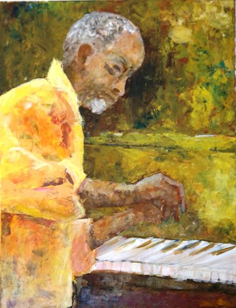 Le pianiste - Acrylique sur toile - 90 x 70 - 03 17