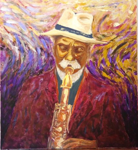Le vieux sax - Acrylique sur toile 93 x 85 - 09 17