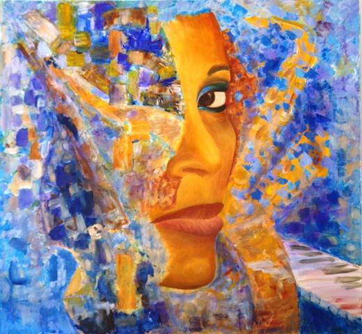 Contrebasse - Acrylique sur toile 103 x 95 - 05 17