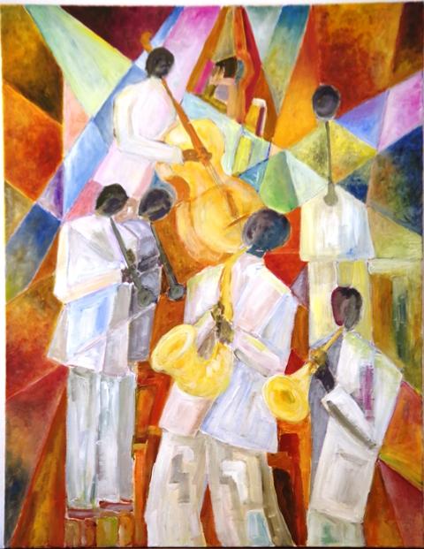 Quintet - Acrylique sur toile 90 x 70 - 01 17