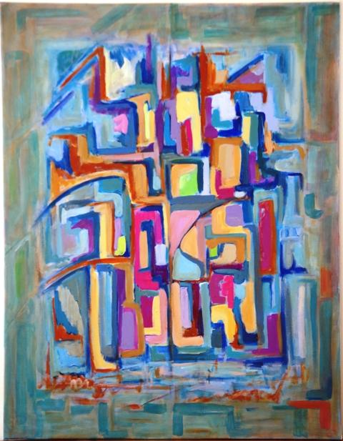 Ruelles - Acrylique sur toile 90 x 70 - 11 16